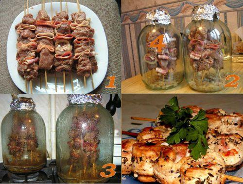 Шашлык в духовке из свинины в банке на шпажках этапы приготовления