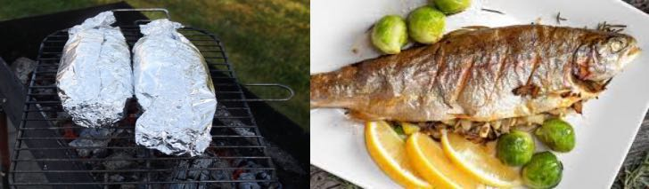 фаршированная рыба на углях