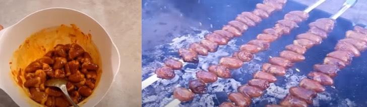 куриные сердечки на мангале на шампурах