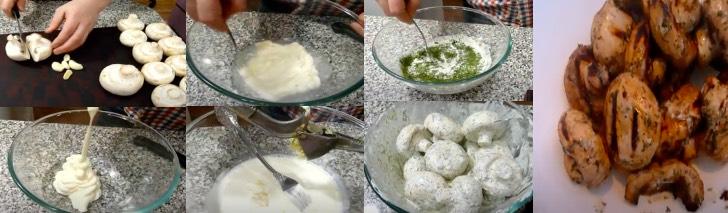 шампиньоны в маринаде с зеленью